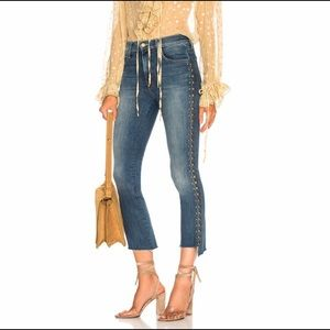 MOTHER Insider Crop Step Fray Jeans ROUGH STUD NWT
